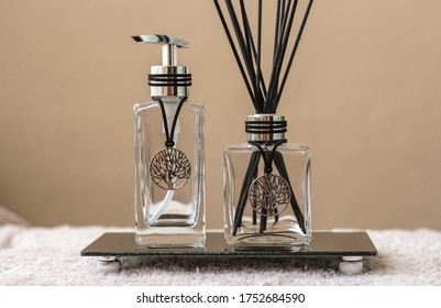 Aromatic air freshener in a transparent glass bottle with life tree symbol for decoration