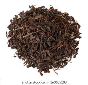 aromatic black dry tea, isolated on white