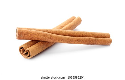 Aromatic cinnamon sticks on white background