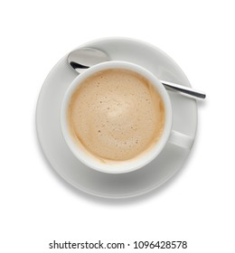 An aromatic cup of Cappuccino coffee, on a saucer, with a spoon, shot from above on white, with a drop shadow.