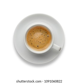An aromatic cup of espresso coffee, on a saucer, shot from above on white, with a drop shadow.
