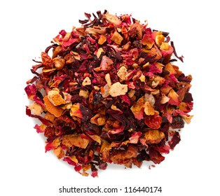 aromatic dry tea with fruits and petals, isolated on white