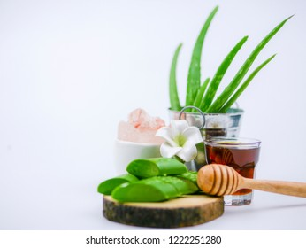 Aromatic Freshness of Aloe vera , honey bee and Himalayan salt for Natural Beauty spa set concept
