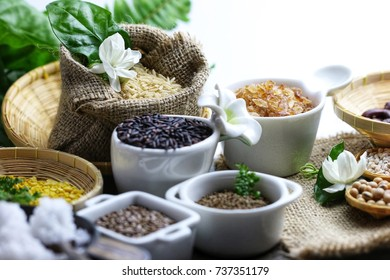 Aromatic & Healthy cuisine for vegan lover concept, many kind of beans and organic superfood seed on kitchen table by tender lighting