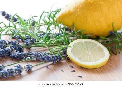 aromatic herbs and lemon