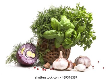 aromatic herbs seasonings and spices with garlic and onion
