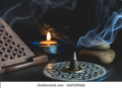 Aromatic incense burning on an incense burner