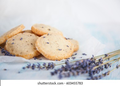 Aromatic lavender handmade cookies on wooden background with copy space