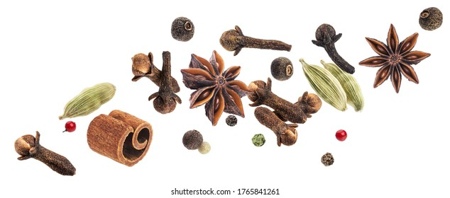 Aromatic spices collection, christmas decoration, falling igredients for mulled wine isolated on white background - Shutterstock ID 1765841261