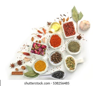 Aromatic spices on white background