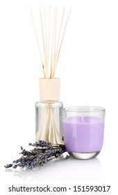 Aromatic sticks for home with smell of lavender isolated on white