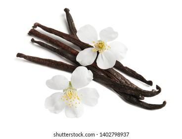Aromatic vanilla sticks and flowers on white background