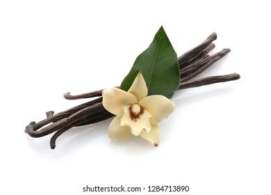 Aromatic vanilla sticks on white background
