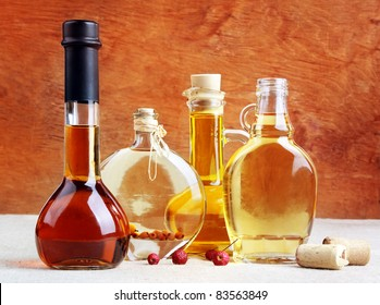 Aromatic wines, liqueurs, tincture and spirits in elegant bottles, still life