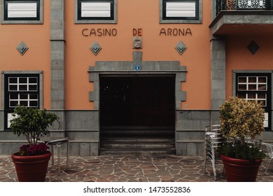 Arona, July 11, 2019; Casino De Arona, cafe entrance. Inside the cafe flamenco classes. Arona is one of the main tourist destinations in the south if the Island.
