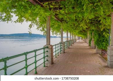 Arona, Piedmont, Italy - center of Arona, located on the shore of Lake Maggiore in Piedmont, Italy