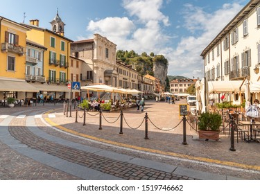 Arona, Piedmont, Italy - September 25, 2019: View of Central square - Piazza Del Popolo in center of Arona, located on the shore of Lake Maggiore in Piedmont, Italy