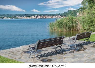 Arona town and lake Maggiore from Angera, Italy. Relax area on lake