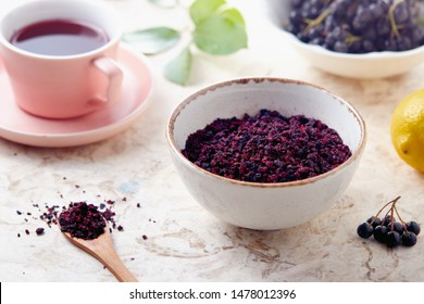 Aronia berry tea. Dried aronia berries are commonly used to make antioxidant-rich herbal tea.