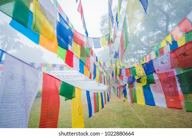 around the birthplace of buddha in Lumbini garden of Nepal, Colorful Flags in Nepal