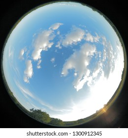 Around on Sky. Taken with a fisheye lens to give the special plate effect. The fresh air feel and clear blue sky are shown on the picture.