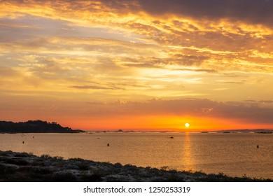 Arousa estuary at sunset from Mexilloeira beach in O Grove town, Galicia, Spain