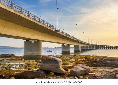 Arousa Island bridge at low tide from Vilanova de Arousa