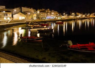 Arousa Island seafront and boardwalk illuminated at night