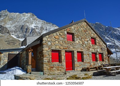 The Arpitettaz mountain Refuge high in the Val d'Anniviers, Switzerland. The mighty Weisshorn behind