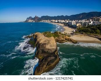 Arpoador Beach, Devil's Beach, Ipanema district of Rio de Janeiro Brazil, South America.