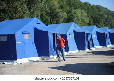 Arquata del Tronto, Italy - August 31st, 2016: view of the tent camp erected in Arquata del Tronto, Italy. The region was struck by a powerful, 6.2magnitude earthquake in the night of August 24, 2016