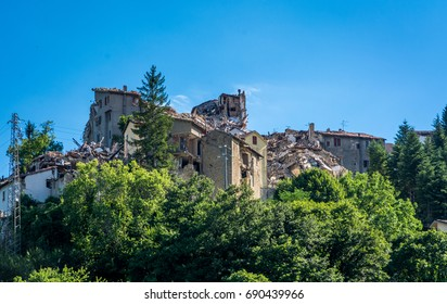 Arquata del Tronto's medieval village destroyed by the earthquake of august 24, 2016 in Italy.