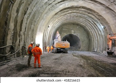 Arquata Scrivia, Italy - March 10, 2016: construction site of the new railway tunnel