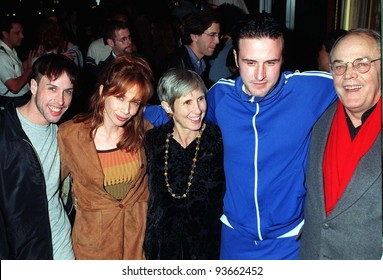 "Arquette family: (L to R) ALEXIS ARQUETTE, ROSANNA ARQUETTE, MARTI (mother), DAVID ARQUETTE & LEWIS ARQUETTE (father) at premiere of David's new movie, ""johns.""  Jan.97"