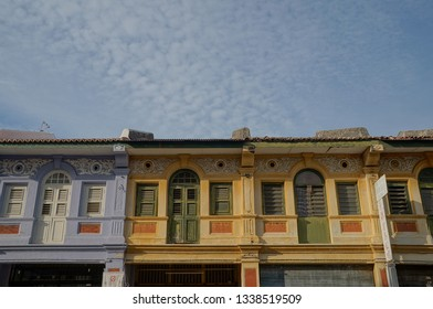 Arquitectural buildings in George Town, half frame, half frame with sky