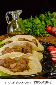 Arrachera beef tacos, Mexican food made with beer marinade and corn tortillas with copy space