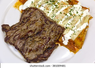 Arrachera and chilaquiles