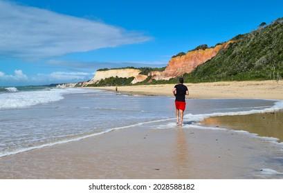 Arraial d'Ajuda is a district of the Brazilian municipality of Porto Seguro, on the coast of the state of Bahia, cliff at Lagoa Azul beach