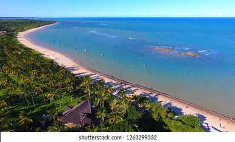 Arraial d'Ajuda, Porto Seguro, Bahia, Brazil. Paradisiac beach with clear weather. Beautiful landscape. Travel scenery. Vacation scenery. Tourism point of Bahia, Brazil. Relaxation scenery.
