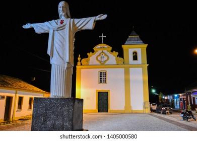 Arraial d'Ajuda/Bahia/Brazil - May 08th 2014: Mother Church of Our Lady of Help (Igreja Matriz da Nossa Senhora d'Ajuda) at Night