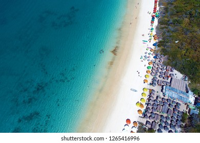 Arraial do Cabo, Brazil: Aerial view of a paradise sea with clear water. Fantastic landscape. Great beach scene