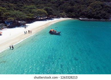 Arraial do Cabo, Rio de Janeiro, Brazil: Aerial view of a paradise sea with clear water. Fantastic landscape. Great beach view. Brazillian Caribbean. Travel, vacation, tranquilty, relaxation