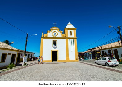 Arraial D'Ajuda/Porto Seguro/Bahia/Brasil - January 02, 2018: Church of Our Lady D'Ajuda of the second half of the 16th century in Arraial D'Ajuda. Tourist spot.
