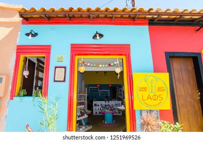 Arraial D'Ajuda/Porto Seguro/Bahia/Brasil - January 02, 2018: Facade of a commercial establishment in the center of Arraial D'Ajuda. Colorful shop. Tourist spot.