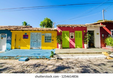 Arraial D'Ajuda/Porto Seguro/Bahia/Brasil - January 02, 2018: Facade of commercial establishments and houses in the center of Arraial D'Ajuda. Colorful shops and homes. Tourist spot.