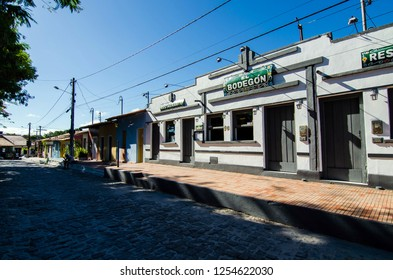 Arraial D'Ajuda/Porto Seguro/Bahia/Brasil - January 02, 2018: Facade of commercial establishment in the center of Arraial D'Ajuda.Tourist spot. Street view.
