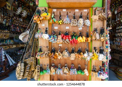 Arraial D'Ajuda/Porto Seguro/Bahia/Brasil - January 02, 2018: Close up of souvenirs being sold in commercial establishment in the center of Arraial D'Ajuda. Colorful shop. Tourist spot.