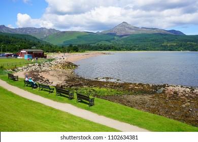 ARRAN, SCOTLAND -12 JUL 2017- View of Brodick on the Isle of Arran in Scotland.