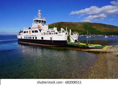 ARRAN, SCOTLAND -12 JUL 2017- View of the Caledonian MacBrayne (CalMac) Catriona ferry in Lochranza on the Isle of Arran where it crosses the Firth of Clyde to Claonaig.