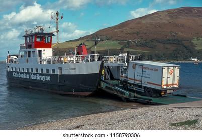 Arran Scotland UK 09/01/1999: Caledonian MacBrayne MV Loch Tarbart ferry at Arran